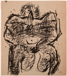 JEAN DUBUFFET INK ON PAPER BODY OF A LADY, CIRCA 1950s