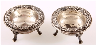 STERLING SILVER S. KIRK & SON REPOUSSE SALT CELLARS