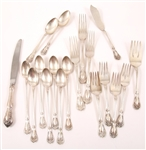 ALVIN STERLING SILVER CHATEAU ROSE FLATWARE - LOT OF 19