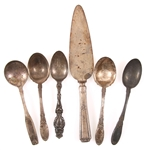 STERLING SILVER SPOONS AND CAKE SERVER - LOT OF 6