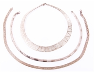 STERLING SILVER HERRINGBONE & COLLAR NECKLACES LOT OF 3