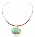 STERLING SILVER MEXICO JADE PENDANT & COLLAR NECKLACE