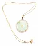 14K YELLOW GOLD CHINESE JADE BI DISC NECKLACE