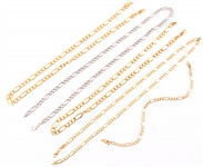 STERLING SILVER FIGARO CHAIN NECKLACES & BRACELET