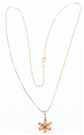 14K GOLD NECKLACE WITH DIAMOND AND CITRINE PENDANT