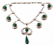 MEXICO STERLING SILVER GREEN ONYX NECKLACE