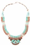 TIBETAN TURQUOISE AND CORAL WHITE METAL NECKLACE