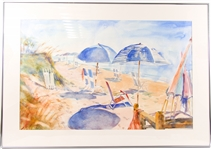 "KATHRYN MORGANELLI ""DOWN TO THE BEACH"" WATERCOLOR ON PAPER"