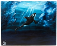 "JIM RUSSELL ""ORCA AMONG THE ICEBERGS"" OIL ON CANVAS"