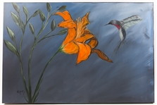 "MICHAEL GREEN ""LILY AND HUMMINGBIRD"" ACRYLIC ON CANVAS"