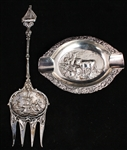 DUTCH 830 SILVER ASHTRAY AND FORK