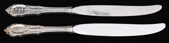 WALLACE STERLING SILVER ROSE POINT WEIGHTED KNIVES
