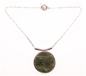 STERLING SILVER GREEN MARBLE PENDANT NECKLACE