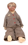 19TH C. AMERICAN OIL PAINTED CLOTH DOLL - 29""
