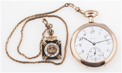 FAHYS BRISTOL ILLINOIS POCKET WATCH WITH MASONIC CASE