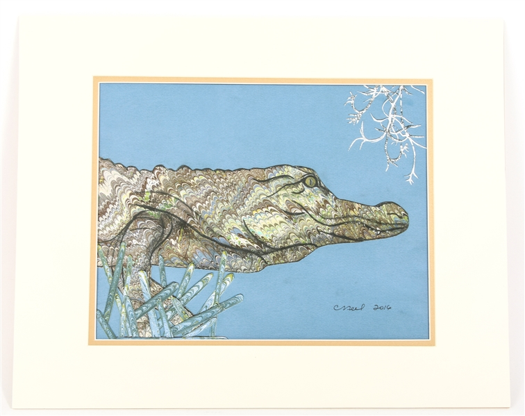 CATHY NEEL ALLIGATOR LITHOGRAPH ON PAPER