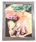 SURREALIST HAND AND TREE ACRYLIC PAINTING ON PAPER
