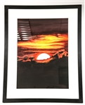 FRAMED SUNSET WATERCOLOR ON PAPER