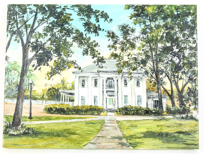 DEBRA BRIENEN ACRYLIC PAINTING MANSION ON WALNUT