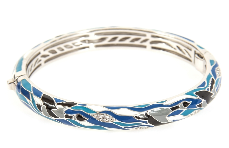 BELLE ETOILE ENAMEL & STERLING SILVER MIGRATION BANGLE