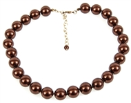 CHOCOLATE BROWN GLASS BEADED NECKLACE