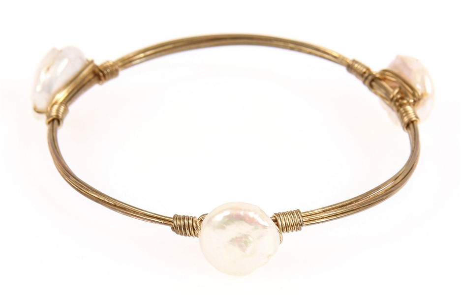 KESHI PEARL WIRE WRAP BANGLE BRACELET