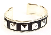 SILVER TONE CUFF BRACELET WITH LEATHER INLAY