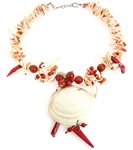 CARNELIAN, CORAL, & SHELL NECKLACE