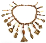 BOHEMIAN STYLE WOOD, BRASS, & GLASS BEADED NECKLACE