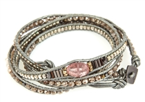 NAKAMOL WRAP BRACELET IN TAUPE, PINK & SILVER HUES