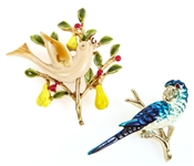ENAMEL GOLD TONE BIRD BROOCHES - LOT OF 2