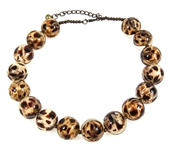 RESIN OVER LEOPARD PRINT FABRIC BEADED NECKLACE