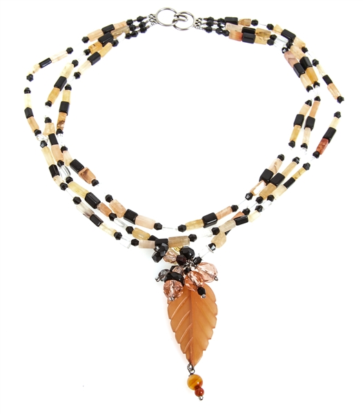 AGATE & ONYX BEADED THREE-STRAND NECKLACE