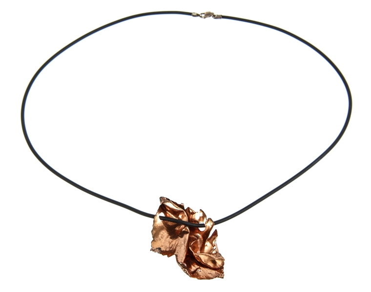 FREE-FORM COPPER PENDANT ON RUBBER CORD