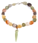 MULTI-COLOR AGATE BEADED NECKLACE WITH FIGURAL PENDANT