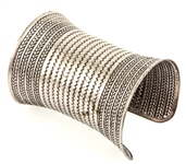 SILVER TONE TEXTURED LONG CUFF BRACELET