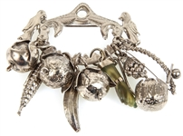 SILVER CHARM BROOCH WITH NINE CHARMS