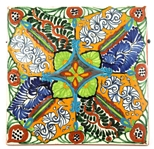 MEXICAN TALAVERA HAND-PAINTED TERRA COTTA TILE