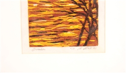 "MARYLYN SCOTT REDUCTION WOODCUT PRINT ""OCTOBER"" #4/4"