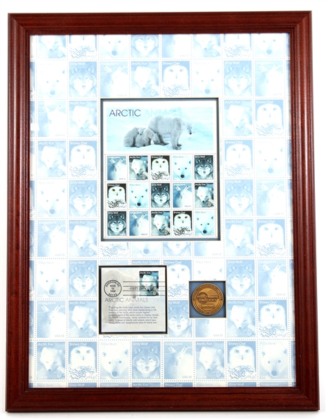 FRAMED ARCTIC ANIMALS FIRST DAY OF ISSUE STAMP SHEET
