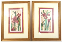 """CRIMSON BLOSSOMS I & II"" FRAMED CHINE COLLE ETCHINGS"
