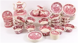COPELAND SPODES TOWER RED TEA/COFFEE SET - 65 PIECES