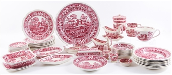 COPELAND SPODES TOWER RED DINNERWARE - 57 PIECES