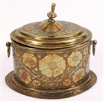 BRASS ENGLISH BISCUIT WARMER WITH FLORAL DESIGN