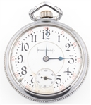 ILLINOIS WATCH CO. ENGRAVED LOCOMOTIVE POCKET WATCH