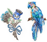 STERLING SILVER & ENAMEL BROOCHES - MACAW & BOUQUET