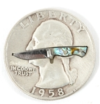 JERRY BODNER MICRO KNIFE INSIDE A 1958 SILVER QUARTER