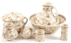 19TH C. BROWNFIELD & SONS DAISY WASH SET - LOT OF 7