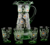 HAND PAINTED DAISY ENAMELED PITCHER & CUPS - LOT OF 5