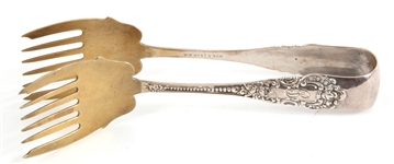 WILLIAM WISE & SON STERLING SILVER PASTRY TONGS
